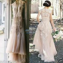 Vintage Custom Blush Tulle Wedding Dresses Lace Cap Sleeve Appliques Bridal Gown Photo