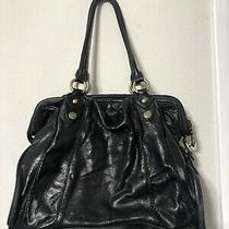 Vintage Cynthia Rowley Black & Brass Soft Leather Bag Purse Hobo Tote Shoulder Photo