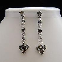 Vintage Dangle Earrings Clear & Black Diamond Swarovski Crystal Earrings E1189 Photo