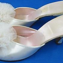 Vintage Daniel Green Blush Pink Satin Peep Toe Tulle Pom Boudoir Slippers Shoes Photo