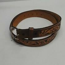 Vintage Del Belt Strap Genuine Leather Mens Size 38 Brown Embossed Made in Usa Photo