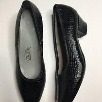 Vintage Deliso Black Faux Leather Croc Pumps Size 7.5b Photo