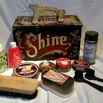 Vintage Deluxe Shine Box Complete Kit Cast Iron Brasslook Foot Rest Brush Polish Photo