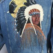 Vintage Denim Jacket Hand Painted Southwest Native American Chief Eagle Feather  Photo