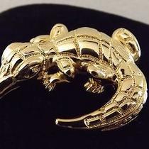 Vintage   Detailed Unique Rare Gold Tone St. John Alligator Crocodile Brooch Pin Photo