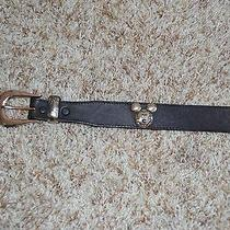 Vintage Disney Brighton Mickey Mouse Black Belt - 30 Inch Photo