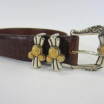 Vintage Disney by Brighton Leather Belt W/ Ornate Silver/gold Buckle Photo