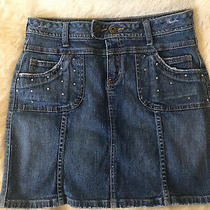 Vintage Distressed 81 Guess Girls Youth Size 16 Blue Jean Skirt Rhinestones Photo