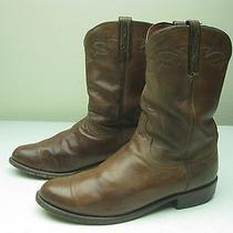 Vintage Distressed Lucchese Made in Usa Brown Leather Rockabilly Roper Boot 11ee Photo