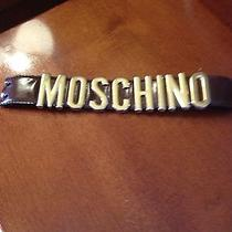 Vintage Diy Moschino Brown Leather Cuff Bracelet With Gold Letters Photo