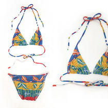 Vintage Dolphin Print Striped String Bikini Swimsuit Suit Opening Ceremony S M 8 Photo