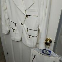 Vintage Donna Karan Black Label Famous Gold Zipper Suit Jacket & Skirt Size 10/8 Photo
