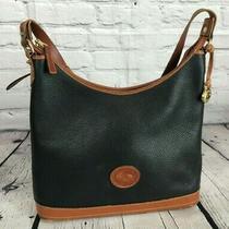 Vintage Dooney & Bourke Black & Brown All Weather Leather Handbag Purse Large Photo