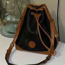 Vintage Dooney & Bourke Duck Logo Bucket Bag All Leather Black & Burnt Cedar Usa Photo