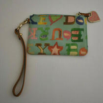 Vintage Dooney & Bourke Light Blue Crayon Doodle Change Purse W/ Key Ring Photo