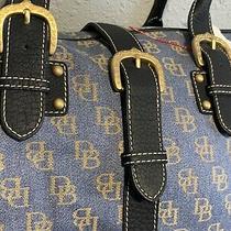 Vintage Dooney & Burke Large Handbag Purse Light Blue Monogram Bag Photo