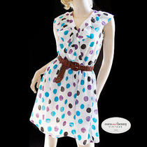 Vintage Dress - 80's Large Polkadot Ysl Fabric Crossover Ruffle Dress - M Photo