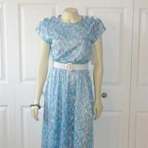 Vintage Dress 80s Tabby of California Deadstock Nwt Blue Lavender Aqua Sz 6p Photo