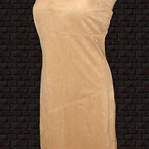 Vintage Dress Peep Strapless Beige Sueded Stretch Fantasy Fringed L Photo