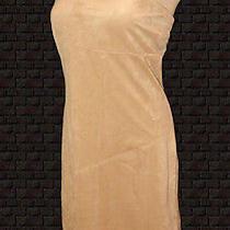 Vintage Dress Peep Strapless Beige Sueded Stretch Fantasy Fringed L Photo