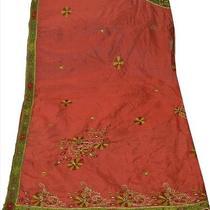Vintage Dupatta Schal Long Scarf Pure Silk Maroon Hijab Hand Beaded Veil Stola Photo