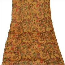 Vintage Dupatta Schal Long Scarf Pure Silk Saffron Hijab Hand Beaded Veil Stola Photo