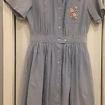Vintage Eddie Bauer Blue Chambray Denim Dress Short Slv Rose Embroidery Size L Photo