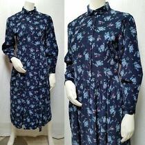 Vintage Eddie Bauer Blue Floral Cotton Corduroy Dress - Size M - Euc Photo