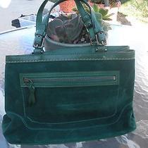 Vintage Emerald Green Coach Purse Suede Beautiful Photo