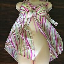 Vintage Enchanting 2-Pc Blush Multicolor Nightie Nightgown Lingerie Size Xl Photo