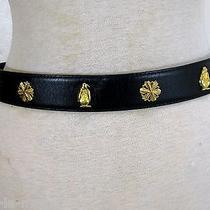 Vintage Escada Black Leather Brass Snowflakes Penguins Winter Novelty Belt S/m  Photo