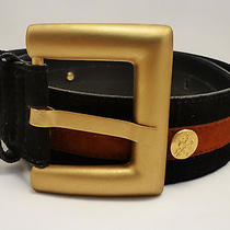 Vintage Escada Black Suede Belt Rust Stripe Gold Tone Medallions Buckle Size 36  Photo