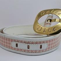 Vintage Escada Dolce Vita Pink White Checkered Belt Gold Buckle Size 36 Photo