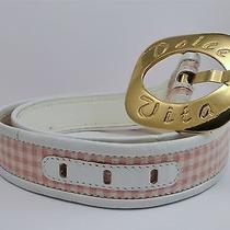 Vintage Escada Dolce Vita Pink White Checkered Belt Gold Buckle Size 36 Photo
