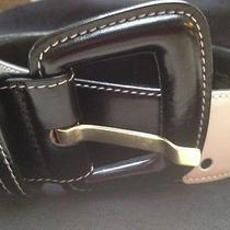 Vintage Escada Leather Belt Size 36 Black and White Photo