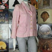 Vintage Escada Pink Stripe Angora Wool Blend Single-Breasted Jacket 34 Germany Photo