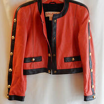 Vintage Escada Red & Navy Leather Boho Jacket W/ Gold Accents in Size 36 Photo