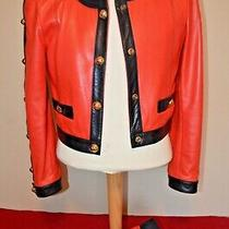 Vintage Escada Red & Navy Leather Boho Jacket W/ Gold Accents Size 36 Toby Skirt Photo