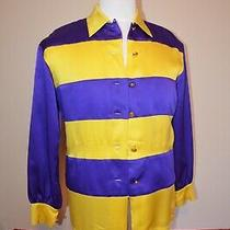 Vintage Escada Silk Blouse Shirt W/ Gold Accents Size 34 Derby Wear Photo
