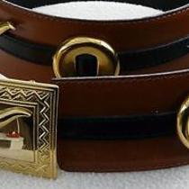 Vintage Escada Western Brown Black Leather Gold Buckle Wide Belt 40 M W.germany Photo