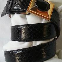 Vintage Estate Belt Liz Claiborne Black Snakeskin Belt Size 29 Photo