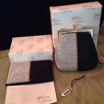 Vintage Estate Whiting & Davis Black Silver Gold Mesh Purse and Card Holder Photo