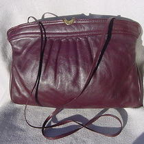 Vintage Etienne Aigner Burgandy Leather Shoulderbag Purse Handbag Hinged Clutch Photo