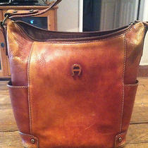Vintage Etienne Aigner Light Brown Leather Bag Purse Bucket Zip Top Distressed Photo