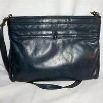 Vintage Etienne Aigner Navy Blue Leather Shoulder Bag / Hinge Opening  1980's Photo