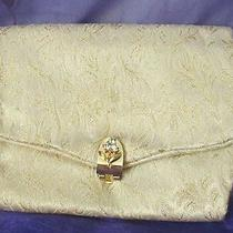 Vintage Evening Purse Clutch Signed Gold Brocade Rhinestone Clasp Handbag Photo