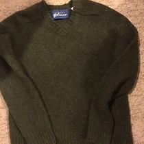 Vintage Express Bleus Olive Green v-Neck Wool Sweater  S Photo