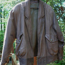Vintage Express Bomber  Distressed Leather Jacket Large Lined Snaps Gorgeous Photo