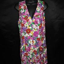 Vintage Express M 12 White Red Pink Purple Floral Romper Playsuit Mini Dress Photo