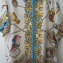 Vintage Express Seashell Printed Silk Short Sleeve Shirt Size M Photo
